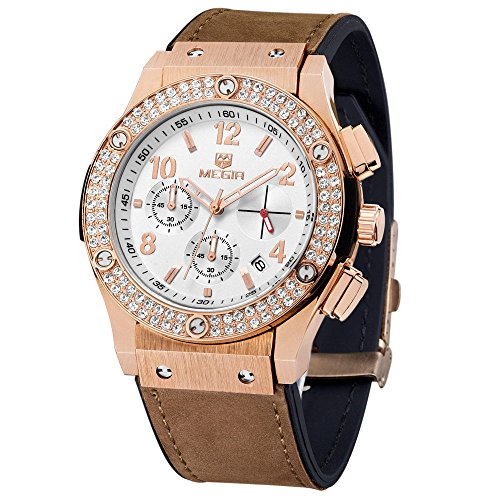 MEGIR Beilaeufige Frauen Kleid Uhr Rose Gold Diamant Kristalluhren Chronograph Auto Date