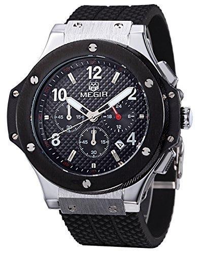 Megir Herren Chronograph Sport Armbanduhr Silikon Schwarz silberfarben