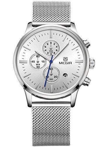 Megir Analoge Chronograph Uhr mit drei kleinen Zifferblaettern Armband in Flechtoptik phosphoreszierend automatischer Datumsanzeige Quarz