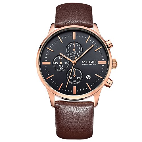 megir Herren Casual Multifunktional Rose Gold Fall mit Braun Lederband Uhren
