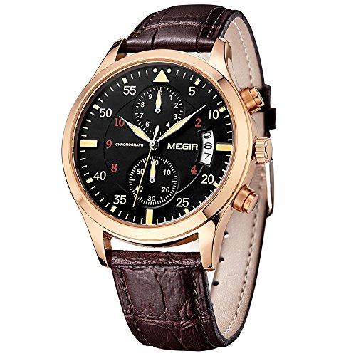megir Herren Chronograph Kalender Auto Datum Armee Braun Lederband Quarz Sport Uhren