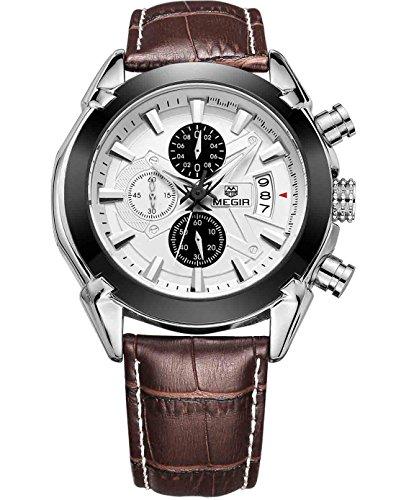megir Herren Quarz Uhren causl Chronograph Braun Leder Military Armbanduhr