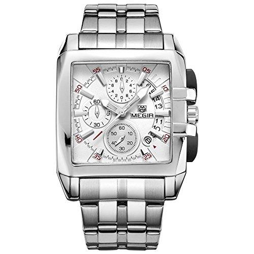 Megir Herren Chronograph weisses Zifferblatt Armeestil insgesamt 6 Zeiger 4 Anzeigen Quarz Armbanduhr