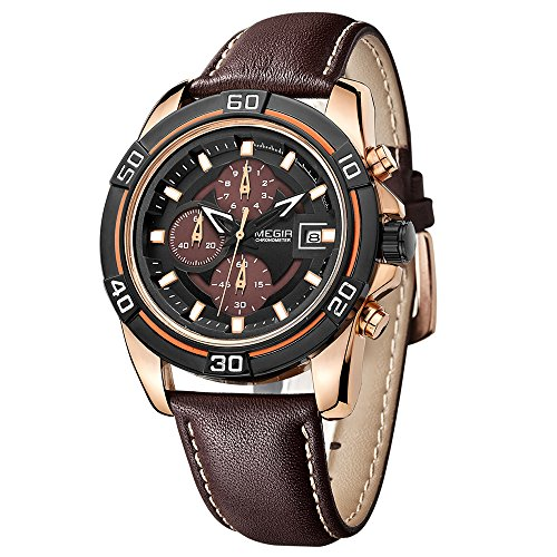 Megir Uhren Herren Military Rose Gold Gehaeuse Braun Leder Band Analog Quarz Stoppuhr