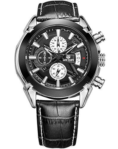 Megir Herren Quarz Uhr im Casual Look Schwarzes Lederarmband Militaer Stil