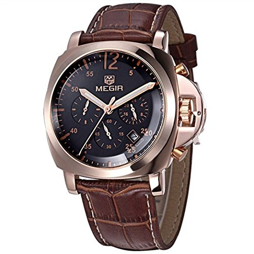 Megir Maenner Luxus Uhr Mann Chronograph Sport Uhr echtes Leder Maenner Quarz Armbanduhr