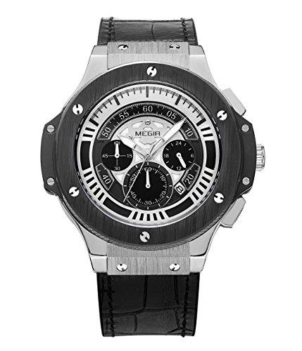 MEGIR Maenner Militaersport Chronograph leuchtende Armbanduhr Leder Quarz Uhr