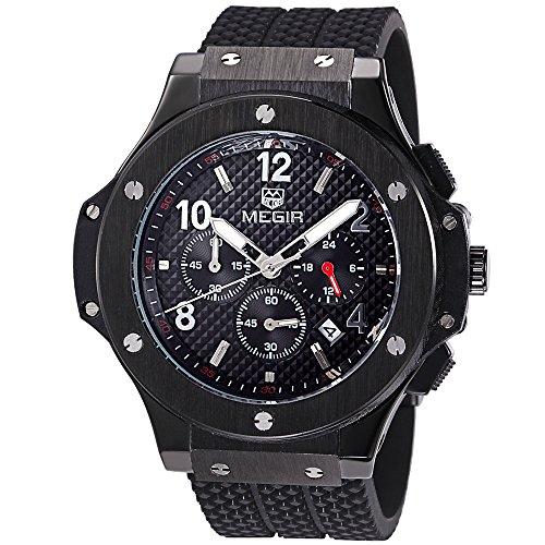 Megir Uhren Herren Military Schwarz Black Silikon Armband Armbanduhren Quarz Big Zifferblatt