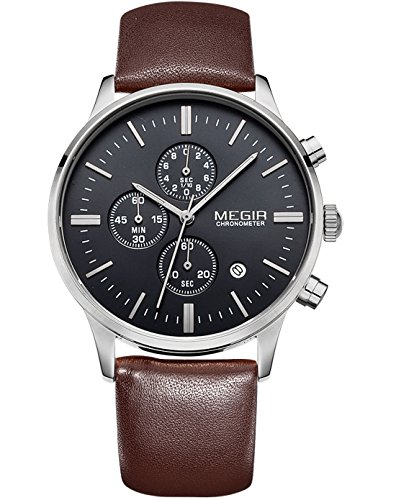 Megir Sportliche Herren Uhr leuchtend Kalender Analoges Display Quarz Armbanduhr mit braunem Lederarmband