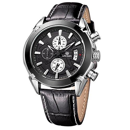 megir Herren Militaer Chronograph Kalender Auto Datum Schwarz Lederband Quarz Fashion Uhren