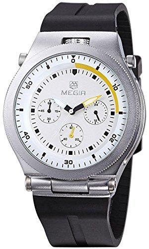 megir Herren Praezise Silikon Band Chronograph Luminous Quarz Handgelenk watch black