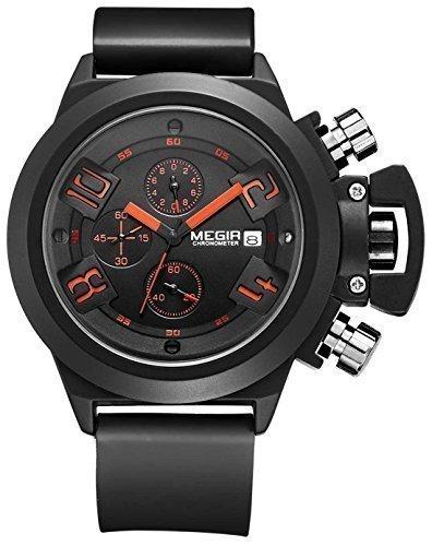 megir Herren Schwarz Zifferblatt Big Face Chronograph Sport Quarz Armbanduhr mit schwarzem Silikon Armband