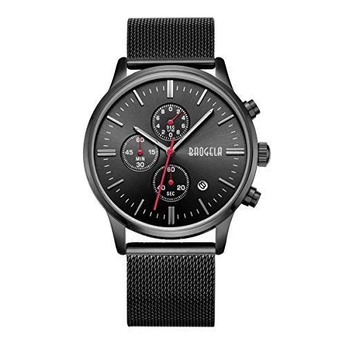 megir Herren Schwarz Zifferblatt Militaer Edelstahl Chronograph Quarz Armbanduhr
