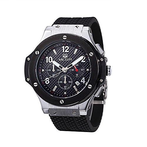 Shining Watch Herren Design Zifferblatt Chronograph Militaer Auto Datum Quarz Sport Silikon Armbanduhr