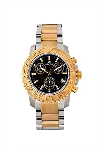 oskar-emil Classic Chronograph Bermuda Herren-Quarzuhr mit schwarzem Zifferblatt Analog-Anzeige und zweifarbigem Armband Edelstahl vergoldet