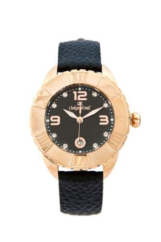 Oskar Emil Damen-Armbanduhr Oskar Emil Celine Rose Gold IP Plated Watch for Ladies with Crystals Analog Leder Schwarz Celine RG