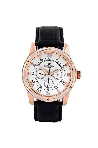 oskar-emil Classic Halifax weissrose gold Herren Quarz-Uhr mit weissem Zifferblatt Analog-Anzeige und schwarz Lederband