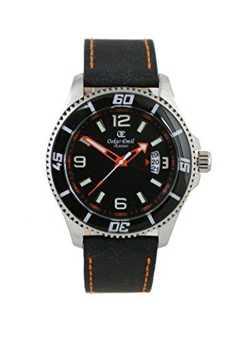 Integro Edelstahl Silber Orange Armbanduhr von oskar emil