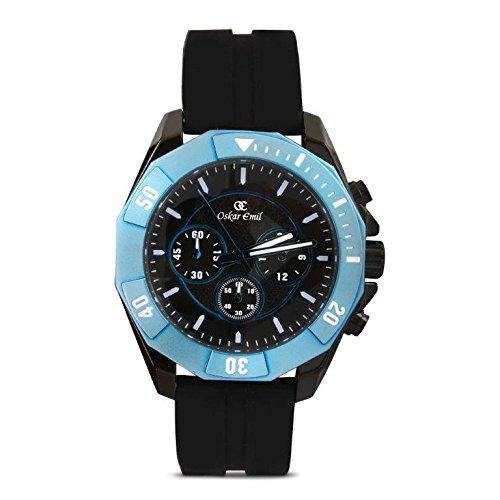 Oskar Emil Sports Herren Armbanduhr Akron Black Blue Chronograph Silikon Schwarz Akron Black Blue