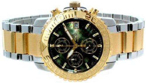 Oskar Emil Herren Bermuda 23K Gold Stahl Armbanduhr Sport Armbanduhr mit MOP Schwarzes Zifferblatt
