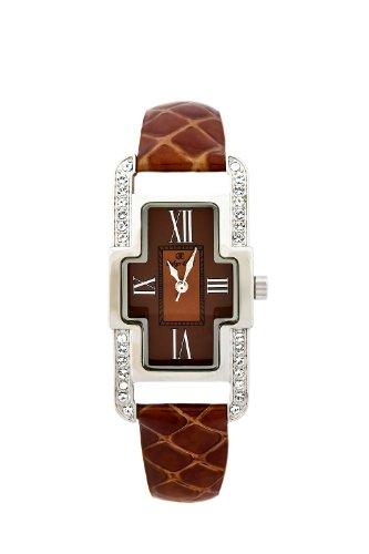 Oskar Emil Damen Armbanduhr Oskar Emil Ladies Marbella Brown Watch with Crystals Analog Leder braun Marbella brown