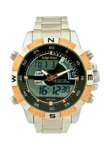 Oskar Emil Herren-Armbanduhr Oskar Emil Rose Gold Ranger Sports Watch for Men Analog Digital Edelstahl silber Ranger RG