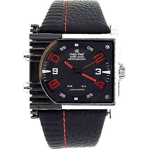 Oskar Emil Scorpio Uhr, rote digitale und analoge LED Anzeige, Lederarmband