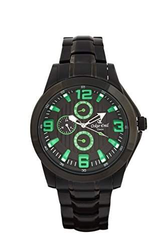 oskar-emil Classic Wellington Herren-Quarzuhr mit schwarzem Zifferblatt Analog-Anzeige und schwarz Edelstahl vergoldet Armband