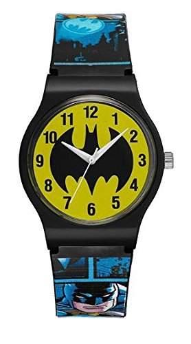 Warner Bros-bm-02-Batman-Zeigt Kinder-Quartz Analog-Zifferblatt Gelb Armband Kunststoff blau