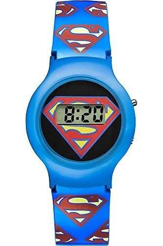 Warner Bros-sm-01-Superman-Zeigt Kinder-Quartz Digital-Zifferblatt schwarz Armband Kunststoff blau