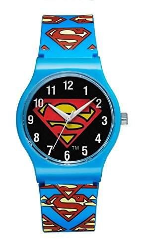 Warner Bros-SM-02-Superman-Zeigt Kinder-Quarz-Analog Zifferblatt schwarz Armband Kunststoff blau