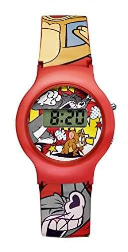 Warner Bros-tj-01-Tom & Jerry-Zeigt Kinder-Quartz Digital-Zifferblatt Rot Armband Kunststoff rot