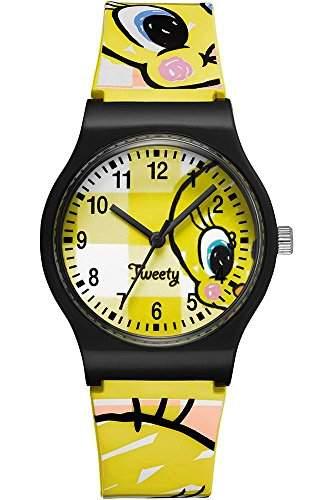 Warner Bros-tw-02-Tweety-Zeigt Kinder-Quartz Analog-Zifferblatt Gelb Armband Kunststoff gelb