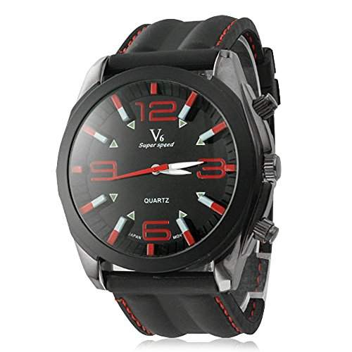 Herrenuhr Analog Quartz Armbanduhr Kleid Mode Silikonband rot