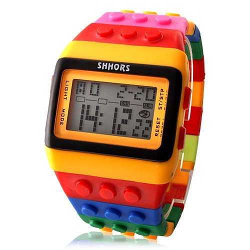 Lightinthebox Rainbow Unisex Block Ziegelstein Art Armbanduhr mit LED Nachtlicht