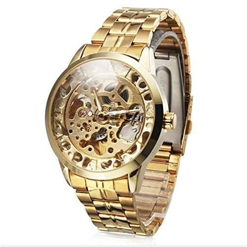 Mechanische Herren Armbanduhr mit hohlgraviertem, goldfarbenem Ziffernblatt und Edelstahl-Band