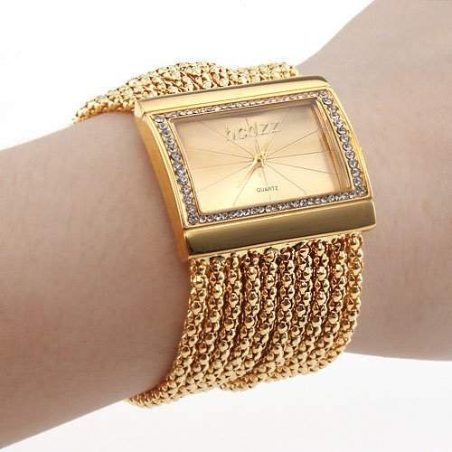 Damen Uhr, Armband im Diamant Stil Gold Uhren Armbanduhr
