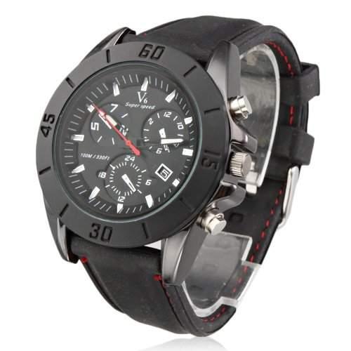 Maenner neue stilvolle schwarze Silikon-Sport-Armbanduhr sw4 schwarz