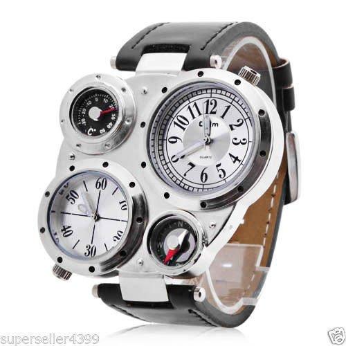 OULM Militaerarmee Dual Time Zones Uhrwerke Quarz Uhr Leder Sport Maenner Weiss