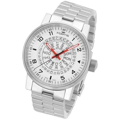 Fortis Herrenuhr Spacematic Classic White-Red Automatik 6231052 M