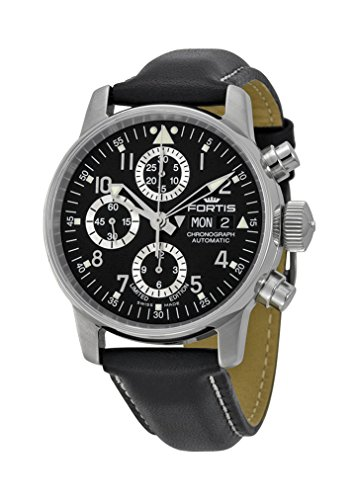 Fortis Flieger Classic Automatic Chronograph Steel Mens Watch Black Dial Day Date 597 20 71 L 01