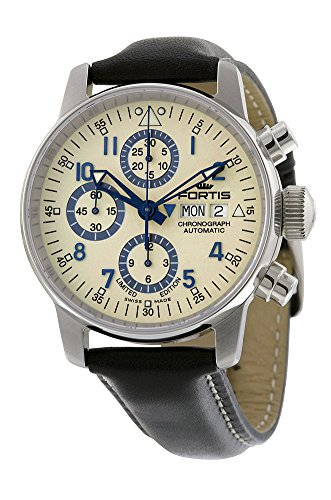 Fortis Flieger Classic Automatic Chronograph Steel Mens Watch Beige Dial Day Date 597 20 92 L 01