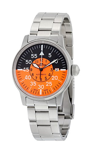 Fortis Flieger Cockpit Automatic Stainless Steel Mens Watch Black Orange Dial 595 11 13 M