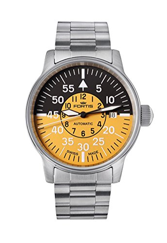 Fortis Flieger Cockpit Automatic Stainless Steel Mens Watch Black Yellow Dial 595 11 14 M