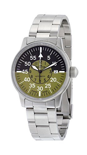 Fortis Flieger Cockpit Automatic Stainless Steel Mens Watch Black Olive Dial 595 11 16 M