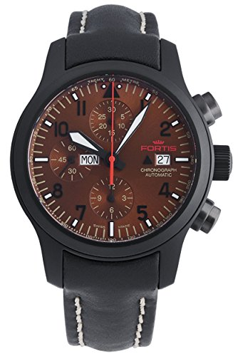 Fortis B 42 Aeromaster Dusk Automatic Chronograph Day Date Black PVD Steel Mens Watch 656 18 98 L 01