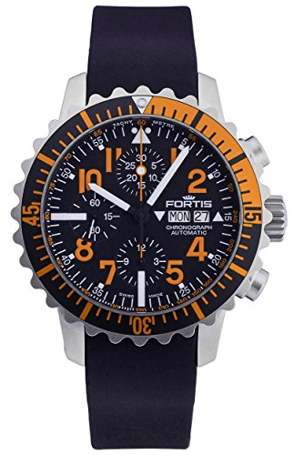 Fortis B 42 Marinemaster Day Date Automatic Chronograph Steel Orange Mens Watch 671 19 49 K