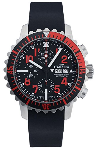 Fortis B 42 Marinemaster Day Date Automatic Chronograph Steel Red Mens Watch 671 23 43 K