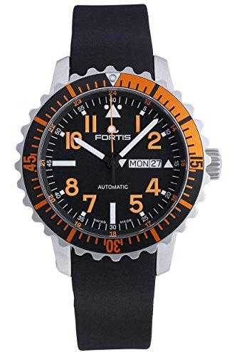 Fortis B 42 Marinemaster Day Date GMT Automatic Steel Orange Mens Strap Watch 670 19 49 K
