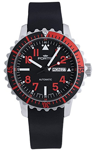 Fortis B 42 Marinemaster Day Date GMT Automatic Steel Red Mens Strap Watch 670 23 43 K